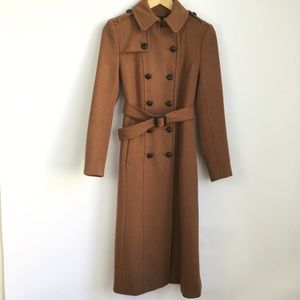 Express Tan Peacoat Belted Long Double Breasted